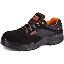 Baskets de sécurité pour hommes légères avec coque en composite et demie semelle en kevlar chaussures de travail et randonnée 1557 Black Hammer