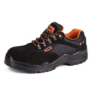 Calzado Deportivo Masculino de Seguridad con Puntera Ultraligera de conglomerado -Zapatos de Trabajo al Tobillo de Senderismo con Suelas centrales de Kevlar 1557 de Black Hammer