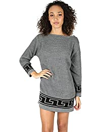 Oops Outlet Womens Ladies Chunky Knitted Greek Print Off Shoulder Bardot Baggy Oversized Long Jumper Dress Top Plus Size UK 8-22
