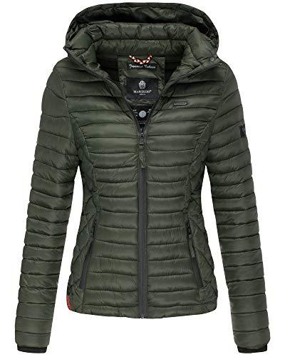 Marikoo Damen Übergangs Steppjacke Herbst Winter Jacke mit Kapuze 11 Farben mit Camouflage XS - XXL Samtpfote (L, OLIVGRÜNN)