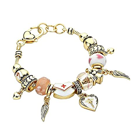 Rosemarie Collections Women's Nurse Beaded Charm Bracelet Pink/Gold