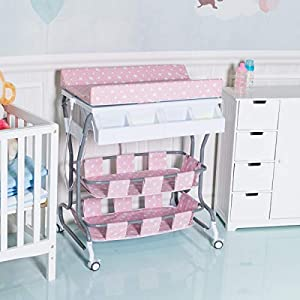 Multigot Baby Changing Table, 2 in 1 Infant Bath Tub Unit, Station Storage Dresser with Lockable Wheels(Pink) (Pink)