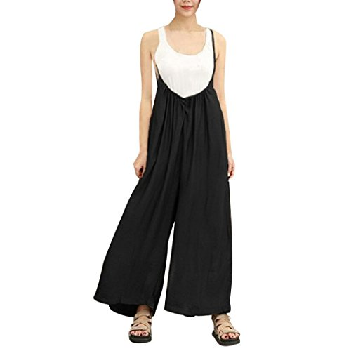 Kobay Women Playsuit Pants, Wide Leg Vocation Dungarees Casual Jumpsuits Long Trousers Rompers