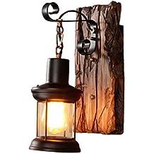 Lámpara de Pared de Madera sólida Retro, lámpara de la cabaña Que modela, Tienda