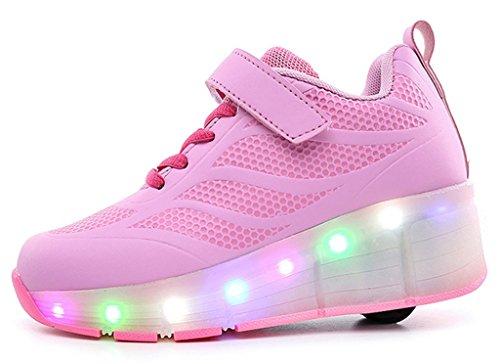 NEWZCERS Unisexe adulte enfant LED clignotant patins à roulettes chaussures sport fonctionnement formateurs sport roue chaussures Rose (bz003)