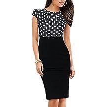 93c6f7182 Mujeres elegante manga corta Midi Slim lápiz Bodycon Vestido de oficina