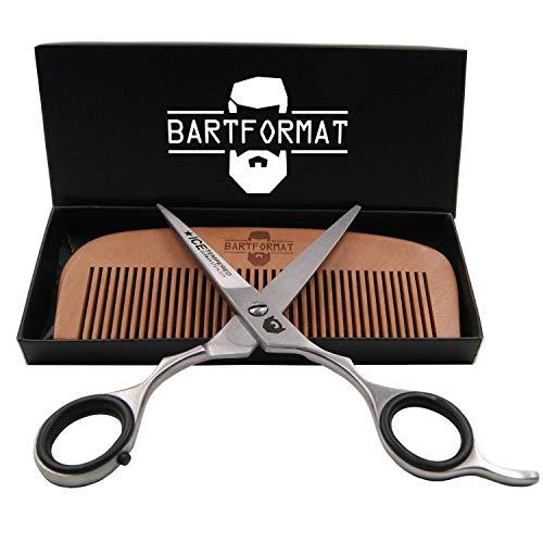"""Bartpflege Set""""KURZMACHER"""" von BARTFORMAT - Bartschere (16 cm) Edelstahl matt + Bartkamm (13 cm) 100% Birnbaumholz - sehr scharfe Schere für den Bart, mit herausnehmbaren Fingerverkleinerern"""