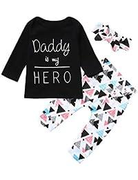 Conjuntos para Bebés Niñas Niños 2019 Primavera Verano PAOLIAN Camisetas Manga Cortas + Pantalone + Diademas
