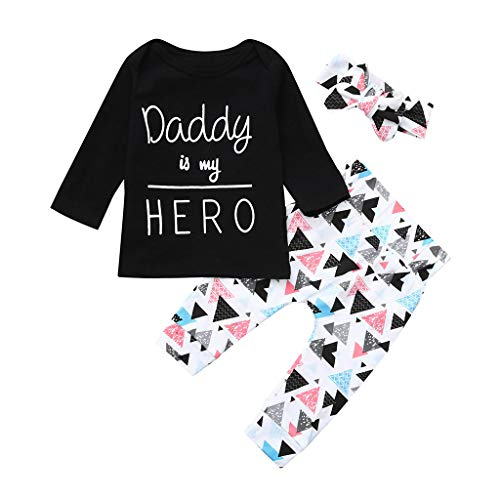 HWTOP Kinderkleidung Outfits Set Newborn Toddler Infant Baby Girls Letter Print Tops Headband Pants -