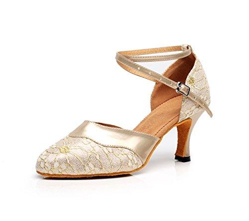 JSHOE - Sandali da Donna, Stile Latin Danza, Chiusi con Dita dei Piedi High HeelSalsa/Tango/ChaCha/Samba/Modern/Jazz Sandalias, Oro heeled7,5 cm - UK4/EU35/OUR36