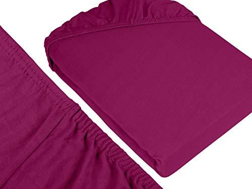 npluseins klassisches Jersey Spannbetttuch - erhältlich in 34 modernen Farben und 6 verschiedenen Größen - 100% Baumwolle, 90-100 x 200 cm, pink - 3