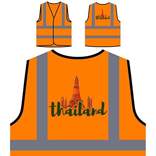 Preisvergleich Produktbild Thailand Urlaub Reise Die Welt Personalisierte High Visibility Orange Sicherheitsjacke Weste b330vo