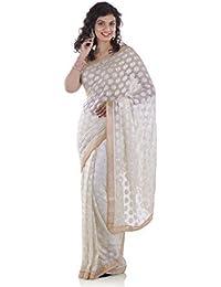 Ethnic Bliss Lifestyles Chiffon Saree Without Blouse Piece (Ethnic Bliss Lifestyles Phulkari off-White Chiffon Saree -off-White)