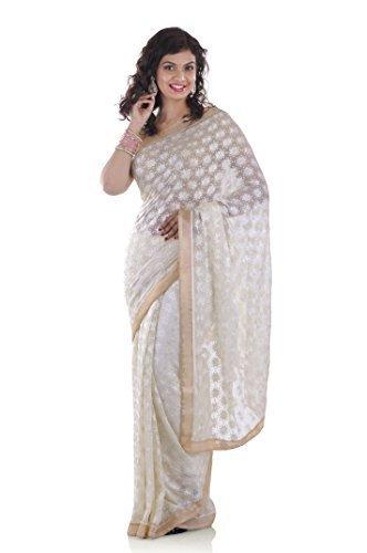 Ethnic Bliss Lifestyles Chiffon Saree Without Blouse Piece (Ethnic Bliss Lifestyles Phulkari...