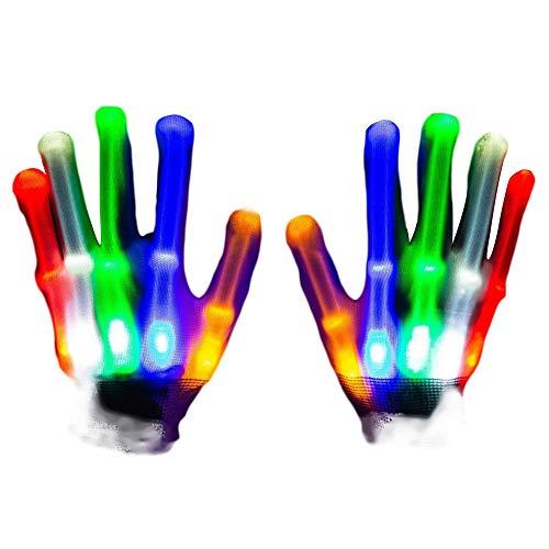 Kinderspiel Damen Kostüm - EisEyen LED Leuchtende Bunte Beleuchtung Full Finger Glow Weihnachten Kostüm Handschuhe Geschenk für Kinder Damen Herren