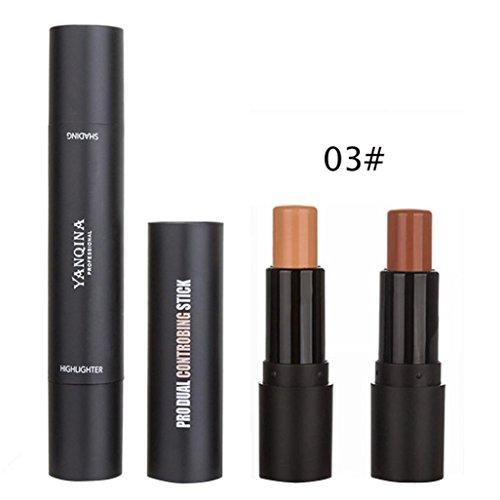Natrual Concealer Stick, BZLine Maquillage Fondation Crème- 2 Couleur Maquillage Visage Lèvres Concealer Highlight Contour Pen Stick (C)