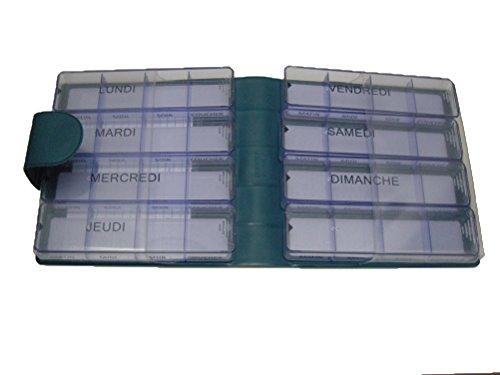 SOFT Pilulier pour m/édicaments peu volumineux contenant 7 boites journali/ères ind/épendantes chacune avec 4 compartiments r/églables dans une trousse imitation velours en mati/ère synth/& MEDIDOS BLEU//BLEU FONC/É