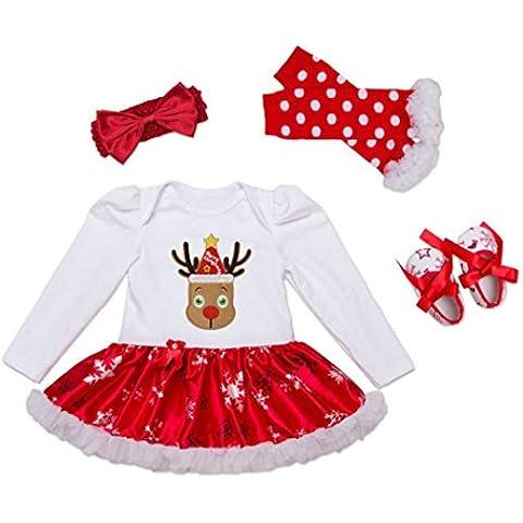 Culater® Neonate XMAS pagliaccetto TUTU Dress scaldino fascia Shoes Set