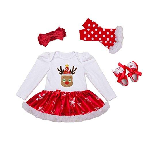 Culater® Neonate XMAS pagliaccetto TUTU Dress scaldino fascia Shoes Set (XL)