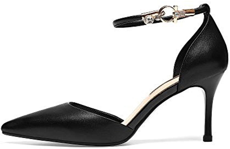 DKFJKI Flacher Mund Damenschuhe Spitze Schuhe Schlanke High Heels Hohle Jahreszeiten Schuhe Leder Knöchelriemen