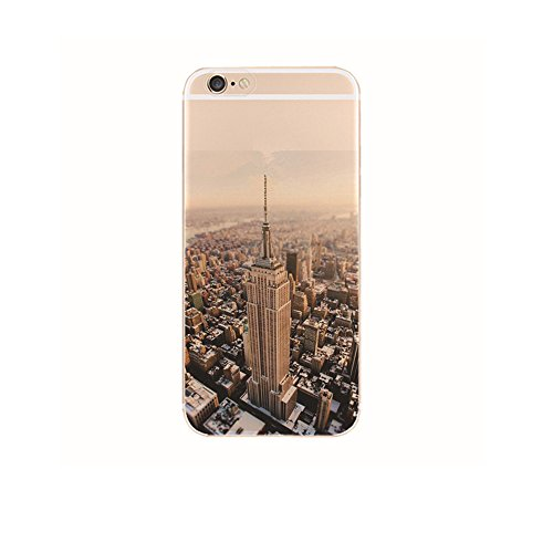 "Jinberry Colorate Custodia Protettiva in TPU Morbida per iPhone7 (4.7"") Dipinto Ultrasottile 0.5mm Case Back Cover con Protezione Tappi Polvere Apple iPhone 7 - Empire State Building"