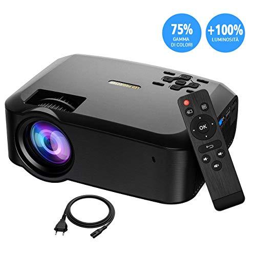 Videoproiettore LED Portatile MPOW, Proiettore Portatile Full HD 1080P, Videoproiettore Mini Portatile 3200 Luminosità Superiore Inclusione del Supporto Triangolare e Porte MicroSD/USB/VGA/AV/HDMI
