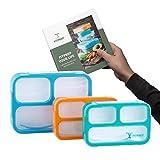 FITPREP® Premium Lunchbox Bento Brotdose Set für Kinder & Erwachsene 3 Stück Meal Prep 3 Fächer Dicht BPA frei inkl Rezeptheft - Bitte Maße beachten