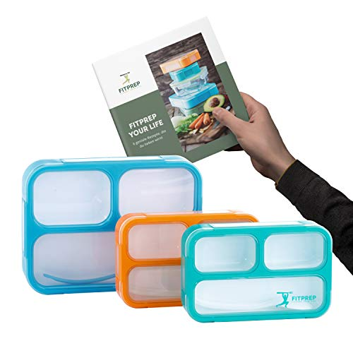 FITPREP® Premium Lunchbox Bento Set für Kinder & Erwachsene I 3 Stück I Meal Prep I 3 Fächer I Dicht I BPA frei I inkl Ebook - Bitte Maße beachten