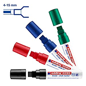 edding 4090-4-S Caja con 4 marcadores de tiza líquida para pizarras y vidrio con punta biselada, colores surtidos