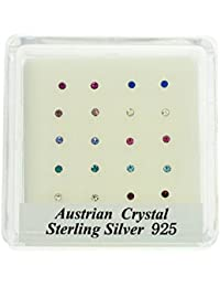 TOC Austrian Assorted Coloured Crystal Sterling Silver 20 Piece Nose Stud Set