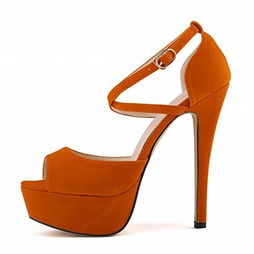 Aisun Damen Sexy Peep Toe Plateau Stiletto Hollow Out Pumps Sandale Mit Knöchelriemchen Orange