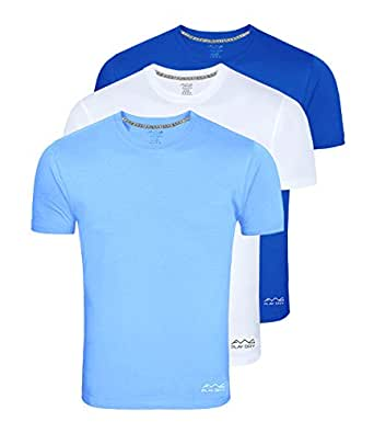 Awg - All Weather Gear Men's Polyester T-Shirt (Pack Of 3) (Awgdft-Sbu-Wh-Rb-S_Multi-Coloured_Small)