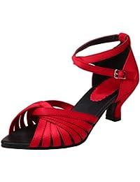 YE Damen Kitten Heels Ankle Strap Riemchen Sandalen Satin Latin Pumps Elegant Schuhe mit 5cm Absatz