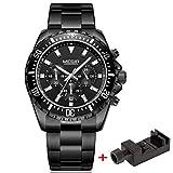 Megir Herren Armbanduhr Business Alle schwarz Edelstahl Band mit Chronograph Quarz Analog Luminous Armbanduhr Wasserdicht 30 M
