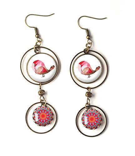 Cabochon-Ohrringe, Roter Fushia-Vogel, lila Fushia-Mandala, Zen, kleiner Piaf (Vogel Mandala)