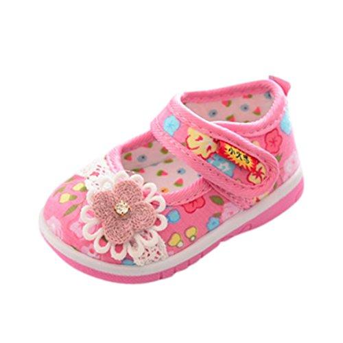 FNKDOR Kinder Baby Quietsche Schuhe Weiche Sohle Quietschende Blumen Lauflernschuhe(19 Länge: 13 cm,Pink)