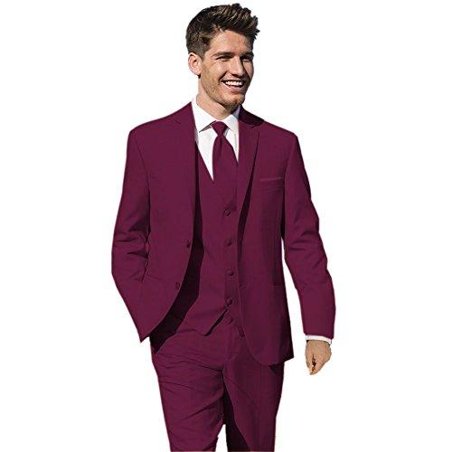 MYS da uomo personalizzata sposi wedding tuxedo Suit Pantaloni gilet cravatta Set Borgogna Burgundy 44 Regular
