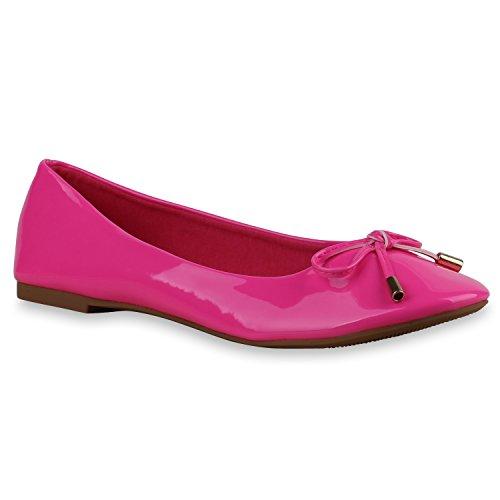 Stiefelparadies Klassische Damen Ballerinas Flats Slipper Flache Übergrößen Spitze Metallic Glitzer Schuhe 137083 Neonpink Lack 36...