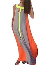 cfe9493cd10f7 HX fashion Vestiti Donna Estivi Eleganti Lunghi Vintage Mare Senza Maniche  Senza Spalline Spiaggia V Scollo