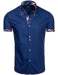 BOLF Herren Hemd Casual Kurzarm Shirt Slim Fit Freizeithemd Men 2B2 Motiv