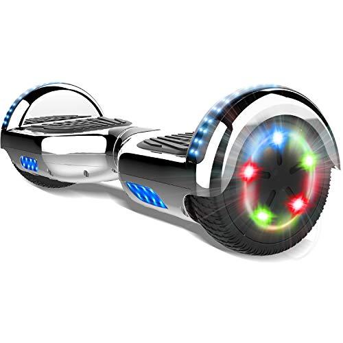 COLORWAY 6.5'' Patinete Monopatín Eléctrico Scoter Auto-Equilibrio con CE Certificado, Bluetooth y Colorido LED