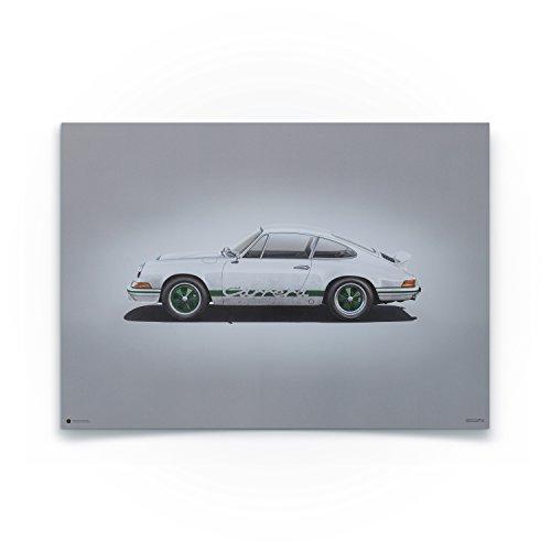 Automobilist Porsche 911 RS Weiß - Einzigartiges Design, Poster - Grau - Standard Poster Format 50 x 70 cm