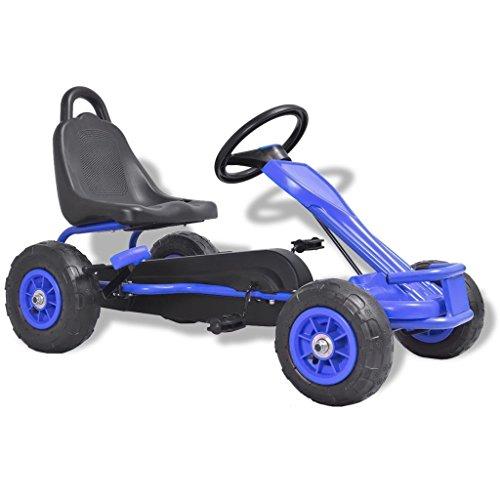 Festnight Gokart Tretfahrzeug Kinder Pedal Go Karts mit Luftreifen Blau