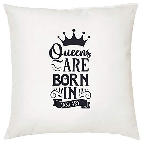 YCCCYOZ Queen Are Born Kissenbezüge, 45,7 x 45,7 cm, Geburtstagskissen-Geschenke, für Sie Kissenbezug, Dekoration, Januar bis Dezember, rustikales Dekor