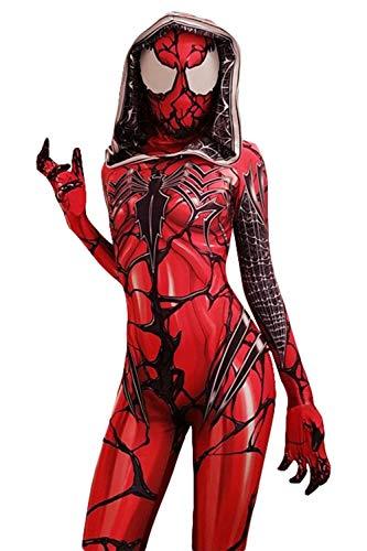Venom Kostüm Damen - Karnestore Sperheldin Venom Symbiote Spiderman Gwen Stacy Carnage Jumpsuit Cosplay Kostüm Damen M
