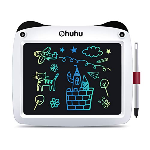 """LCD Writing Tablet Colorful Screen, Ohuhu 9"""" Electronic Drawing Board, Doodle Board, LCD Digital Handwriting Pad Gifts for Kids Children at Home and School, Scribble and Play Learning Boards Ages 3+(White)"""