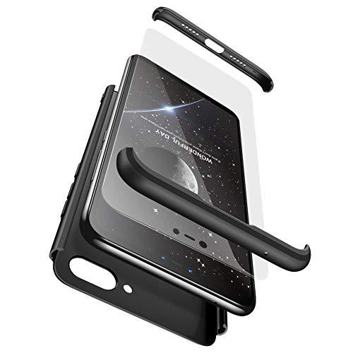 Ququcheng Xiaomi Mi 8 Lite Hülle,Xiaomi Mi 8 Lite Schutzhülle[Mit Bildschirmschutz] 3 in 1 Ultra dünn Hard Shell Case 360 Grad Schutz Tasche Etui Handyhülle Cover für Xiaomi Mi 8 Lite-Schwarz