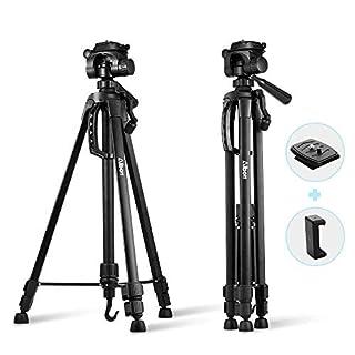 Kamera Stativ 140cm, Albott Kamera Ständer mit 3D Kugelkopf für DSLR Kamera, Digitalkamera, Gopro, Smartphone + Handy Halterung (1/4 Zoll Stativgewinde) Schwarz