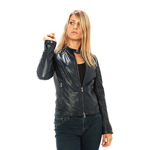 """Giubbino da donna in pelle con colletto """"motociclista"""" vestibilità slim-fit Made in Italy Blu"""