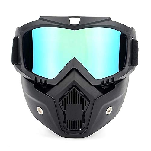 Yiqiane Motorrad Schutzvorrichtung Motorradbrillen UVA400 Schutz Winter Skibrille Reiten Skating Sportbrille mit Abnehmbarer Maske zum Motorrad Roller Autocycle (Color : Dazzling) - Skating-filme Roller